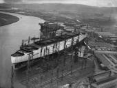 The new Cunard White Star liner '534' later the Queen Mary during its construction at the John Brown Co shipyard Clydebank