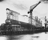 The new Cunard White Star liner '534' later the Queen Mary during its construction at the John Brown Co shipyard Clydebank Scotland 1934