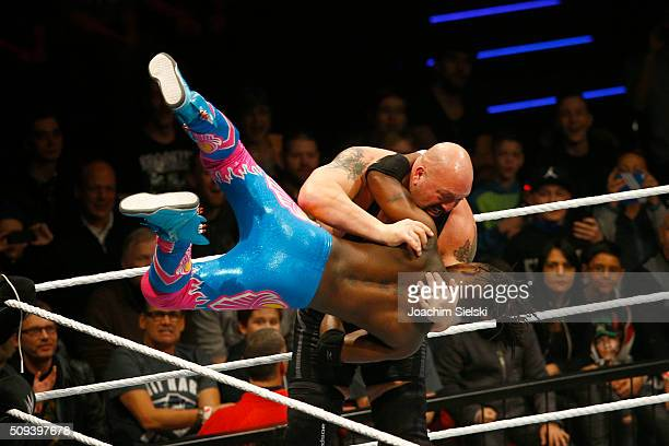 The new day challenges Big Show during WWE Germany Live Bremen Road To Wrestlemania at OVBArena on February 10 2016 in Bremen Germany