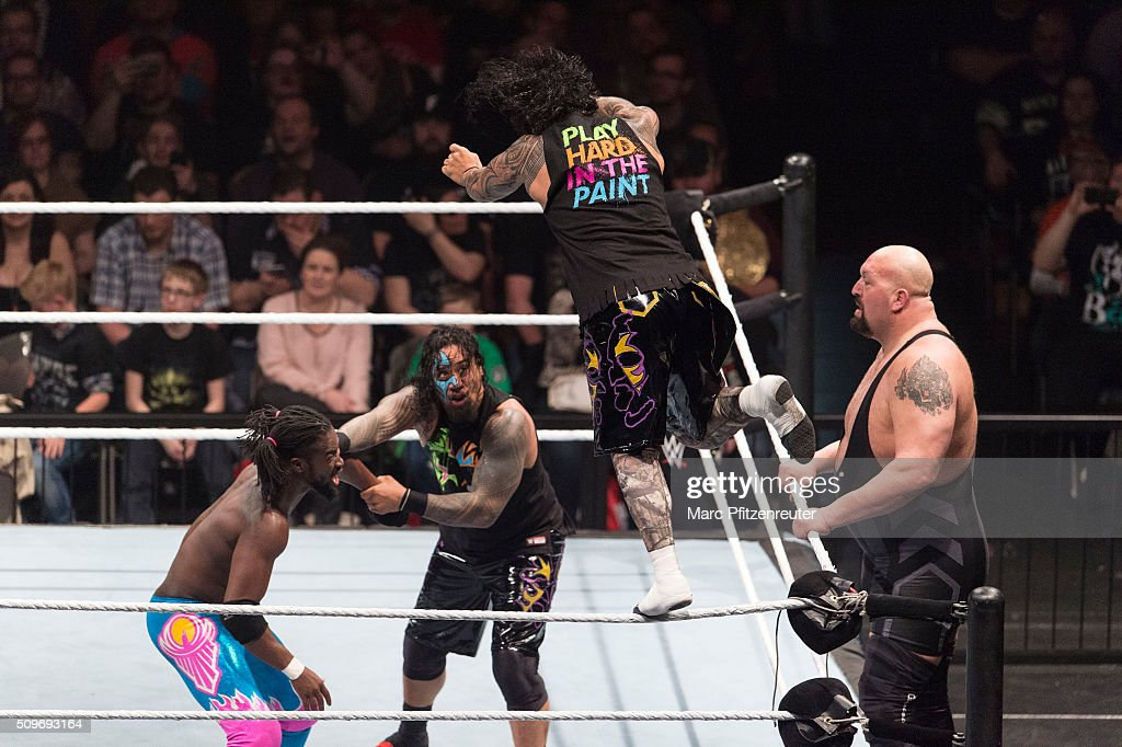 The New Day, The Usos and Big Show compete in the ring at the Road to WrestleMania at the Lanxess Arena on February 11, 2016 in Cologne, Germany.