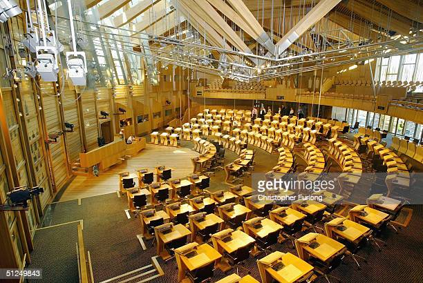 The new debating chamber of the new Scottish Parliament building is pictured on August 31 2004 at Holyrood in Edinburgh Scotland The uniquely...