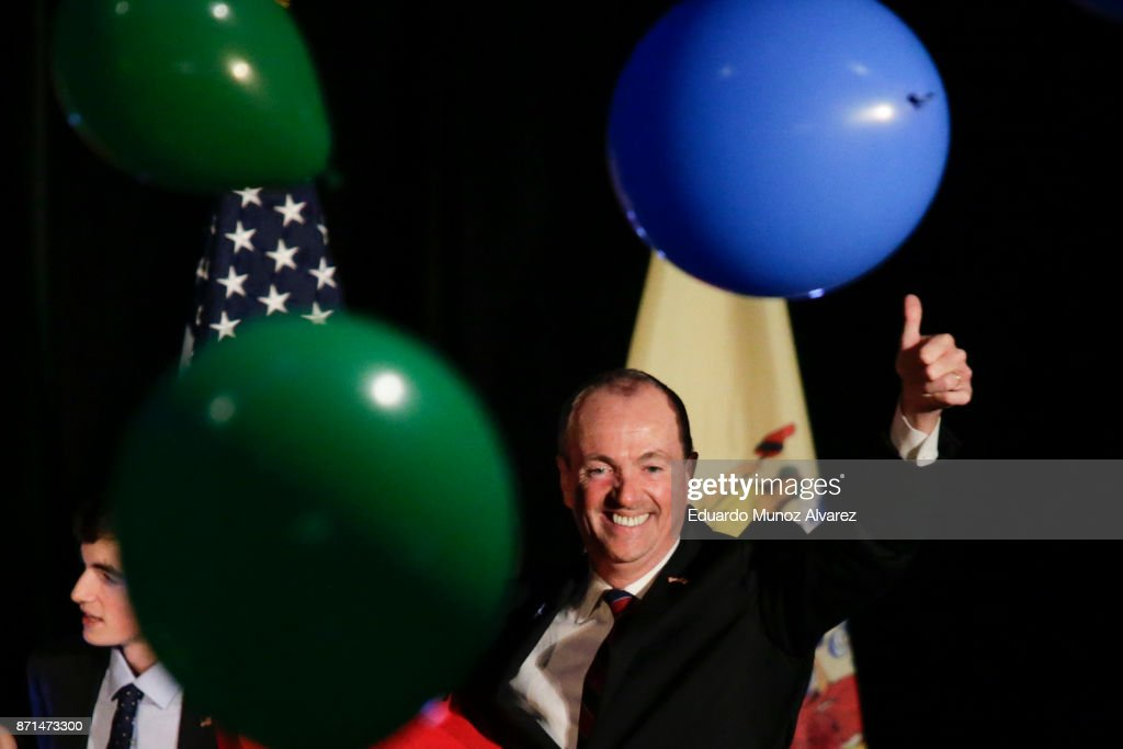 The new Democratic governor of New Jersey Phil Murphy celebrates his victory on November 7, 2017 in Asbury Park, New Jersey. Murphy was projected an early winner over Republican Lt. Gov. Kim Guadagno.