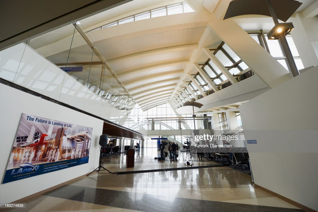 The new design of the north concourse of the new Tom Bradley International Terminal is unveiled at Los Angeles International Airport on March 6, 2013 in Los Angeles, California. Nine of the new 18 gates, including two of the three unveiled, can accomodate large aircrafts such as the Boeing 747-8 Intercontinental and Airbus A-380 superjumbo jet. LAX is currently undergoing a $4.1 billion airport modernization program.