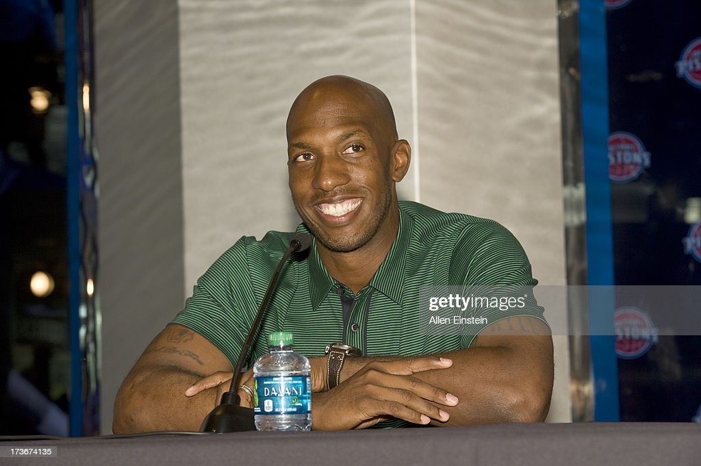 The new Detroit Piston, Chauncey Billups, speaks at a press conference at Palace of Auburn Hills on July 16, 2013 at Palace of Auburn Hills in Auburn Hills, Michigan.