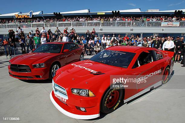 The new Dodge Charger is shown after the unveiling for the 2013 NASCAR Sprint Cup Series at Las Vegas Motor Speedway on March 11 2012 in Las Vegas...