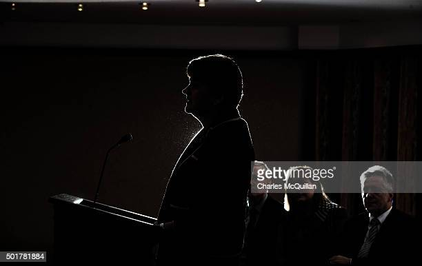 The new DUP leader Arlene Foster addresses the media and party colleagues at the Park Avenue hotel after the Democratic Unionist Party electoral...