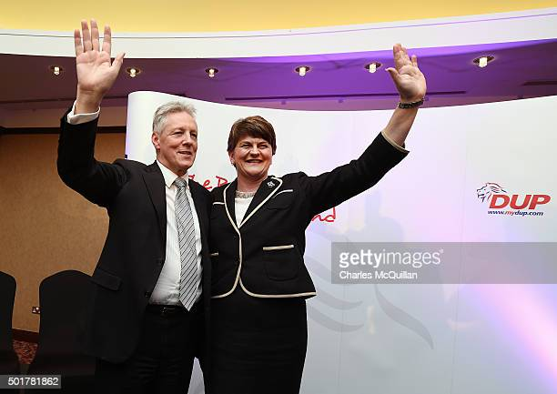 The new DUP leader Arlene Foster is congratulated by outgoing leader Peter Robinson at the Park Avenue hotel after the Democratic Unionist Party...