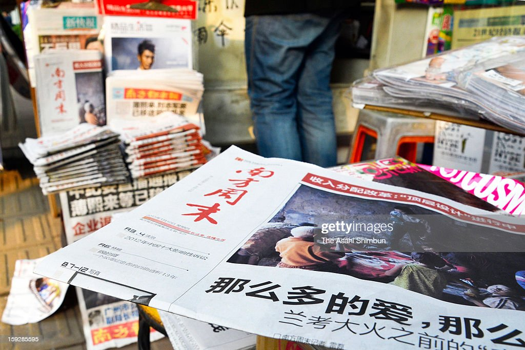 The new edition of Nanfang Zhoumo, or Southern Weekly, is displayed at a newsstand on January 10, 2013 in Guangzhou, China.