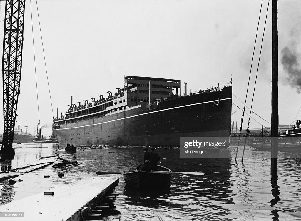 The new electric P&O liner 'RMS Viceroy of India' the day after her launch at the Stephen & Sons shipyard in Linthouse, Glasgow, 16th September 1928. She was launched by Dorothy, Countess of Halifax, the wife of the Viceroy of India.