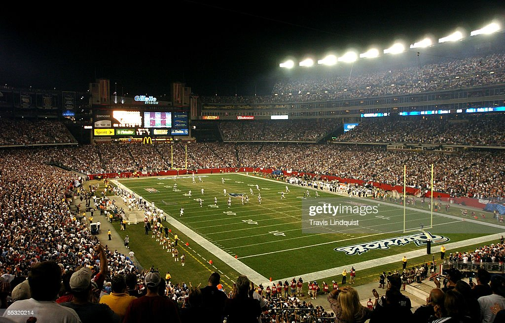 The New England Patriots kick off to the Oakland Raiders during the 2005 NFL opening game at Gillette Stadium on September 8 2005 in Foxboro...