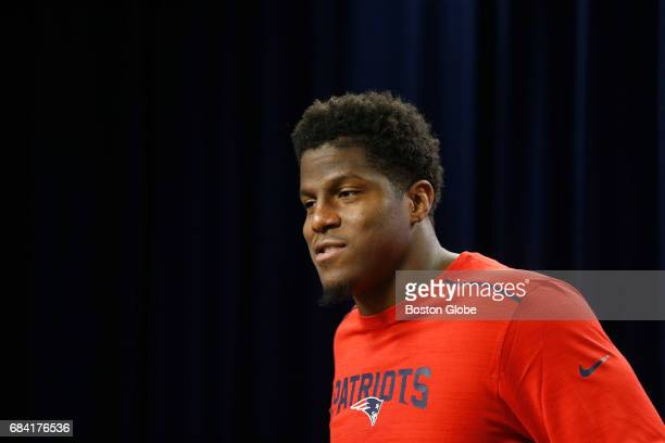 The New England Patriots' new defensive lineman Kony Ealy speaks to reporters during his first press conference at Gillette Stadium in Foxborough MA...