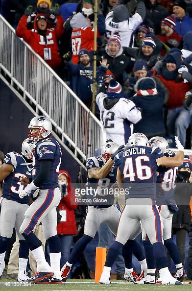 The New England Patriots' Tom Brady Brian Tyms and James Develin celebrates with Danny Amendola after his 51yard touchdown reception from receiver...