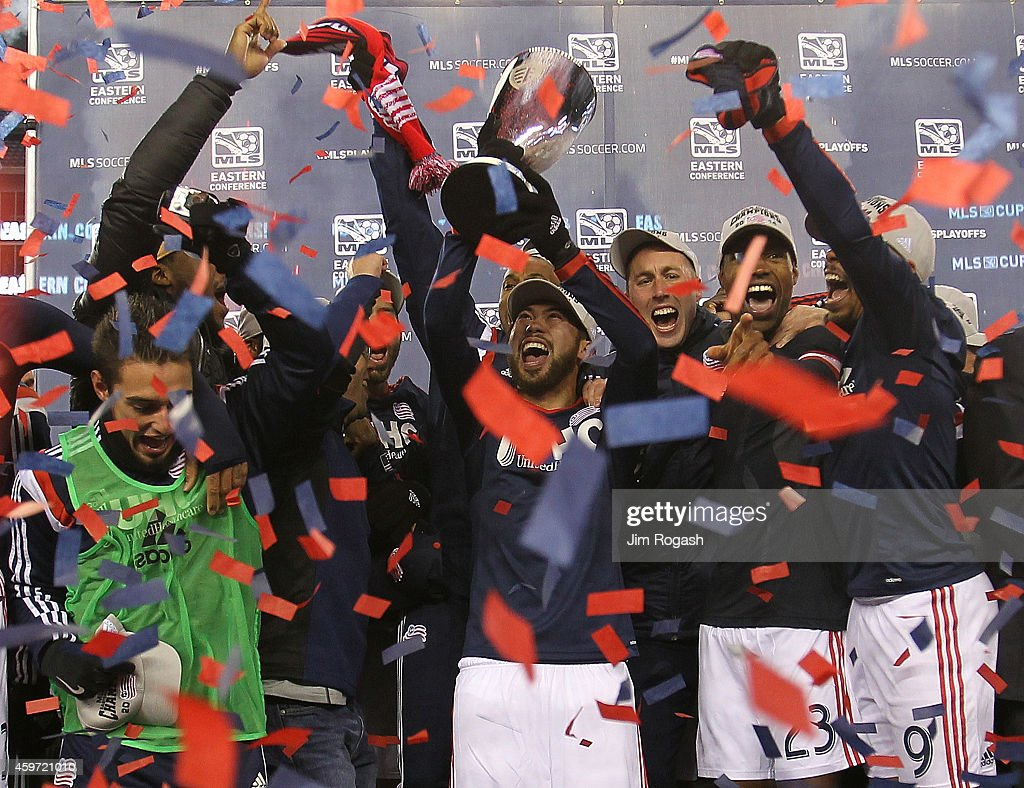 The New England Revolution celebrate after defeating the New York Red Bulls the MLS Eastern Conference Championship at Gillette Stadium on November...