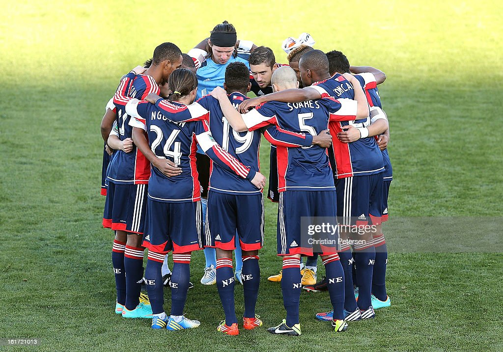 The New England Revolution huddle up before the FC Tucson Desert Diamond Cup against the Seattle Sounders at Kino Sports Complex on February 13, 2013 in Tucson, Arizona. The Sounders defeated the Revolution 2-0.