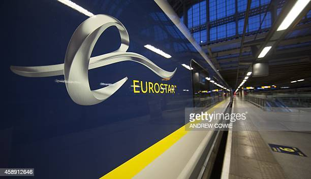 The new Eurostar Train e320 is seen at St Pancras Station during a press day launch in central London on November 13 2014 Eurostar marked its 20th...