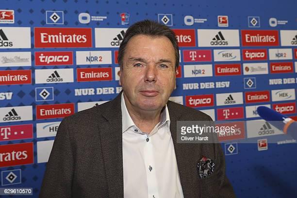 The new Executive Director of Sport Heribert Bruchhagen of Hamburger Sport Verein speaks during the press conference at Volksparkstadion on December...