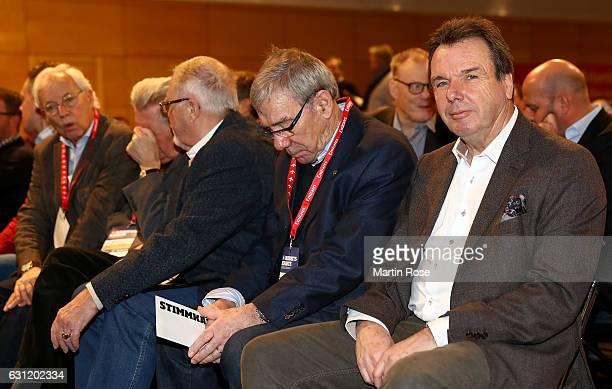 The new Executive Director of Sport Heribert Bruchhagen of Hamburger Sport Verein looks on during Hamburger SV General Assembly at Congress Center at...