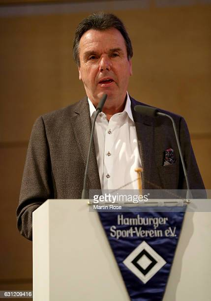 The new Executive Director of Sport Heribert Bruchhagen of Hamburger Sport Verein looks on during Hamburger SV General Assembly at Volksparkstadion...
