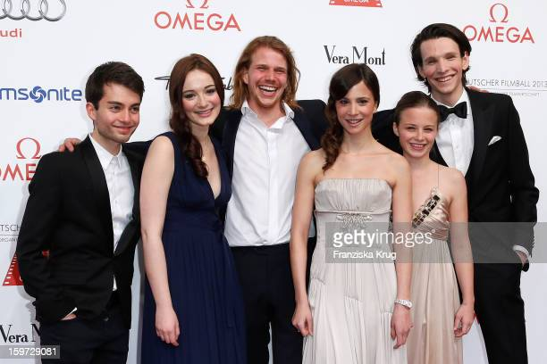 The New Faces Max Hegewald Maria Ehrich Tim Fehlbaum Aylin Tezel Jasna Fritzi Bauer and Sabin Tambrea attend the Germany Filmball 2013 on January 19...