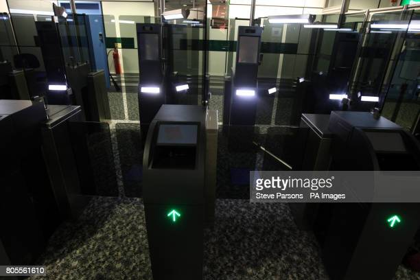 The new fast track facial recognition gates in the North Terminal of Gatwick Airport Sussex