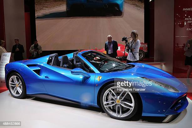 The new Ferrari 488 Spider at the Ferrari stand at the 2015 IAA Frankfurt Auto Show during a press day on September 16 2015 in Frankfurt Germany The...