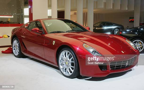 The new Ferrari 599 GTB Fiorano is unveiled as a world premiere presentation at the 76th Geneva International Motor Show on February 28 2006 in...
