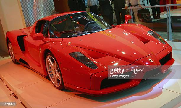 The new Ferrari Enzo is revealed at the Sydney International Motor Show on October 17 2002 in Sydney Australia The Enzo is modelled on Ferrari's F1...