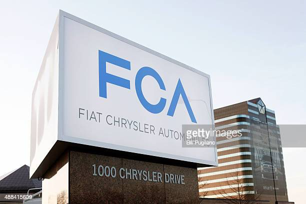 The new Fiat Chrysler Automobiles Group sign is shown at the Chrysler Group headquarters May 6 2014 in Auburn Hills Michigan Today Chief Executive...