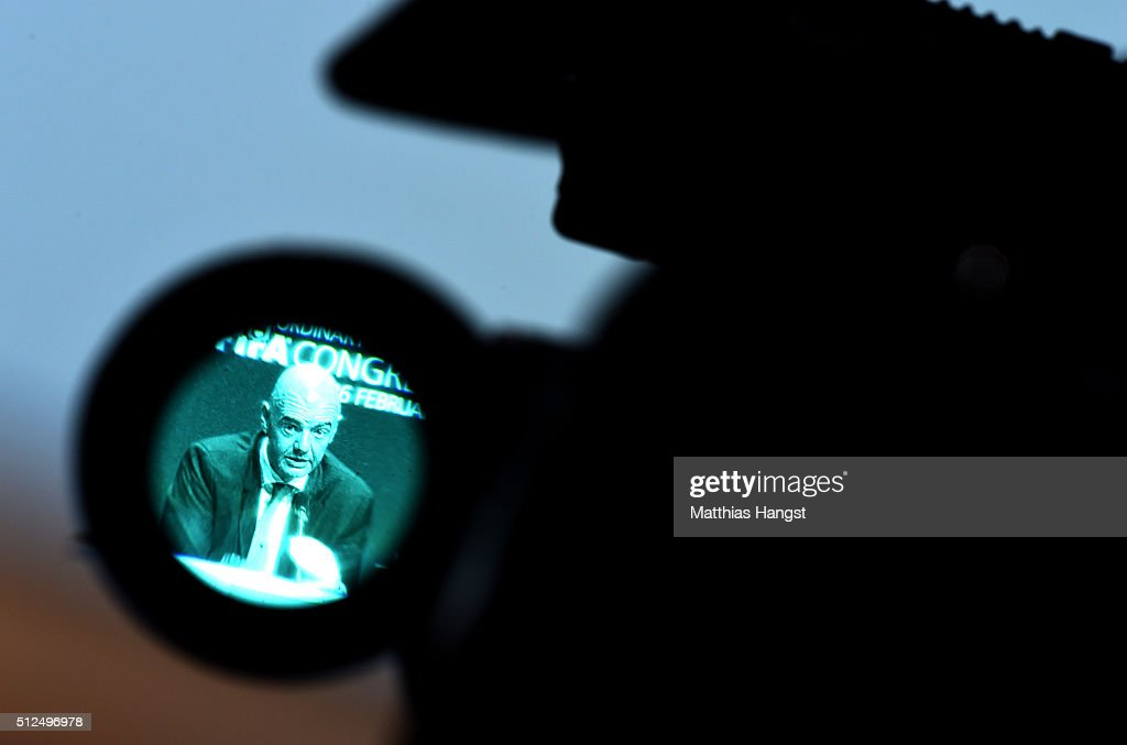The new FIFA President Gianni Infantino is seen through a TV camera during a press conference after the Extraordinary FIFA Congress at Hallenstadion on February 26, 2016 in Zurich, Switzerland.