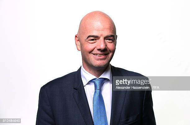 The new FIFA President Gianni Infantino poses for a portrait after the Extraordinary FIFA Congress at Hallenstadion on February 26 2016 in Zurich...
