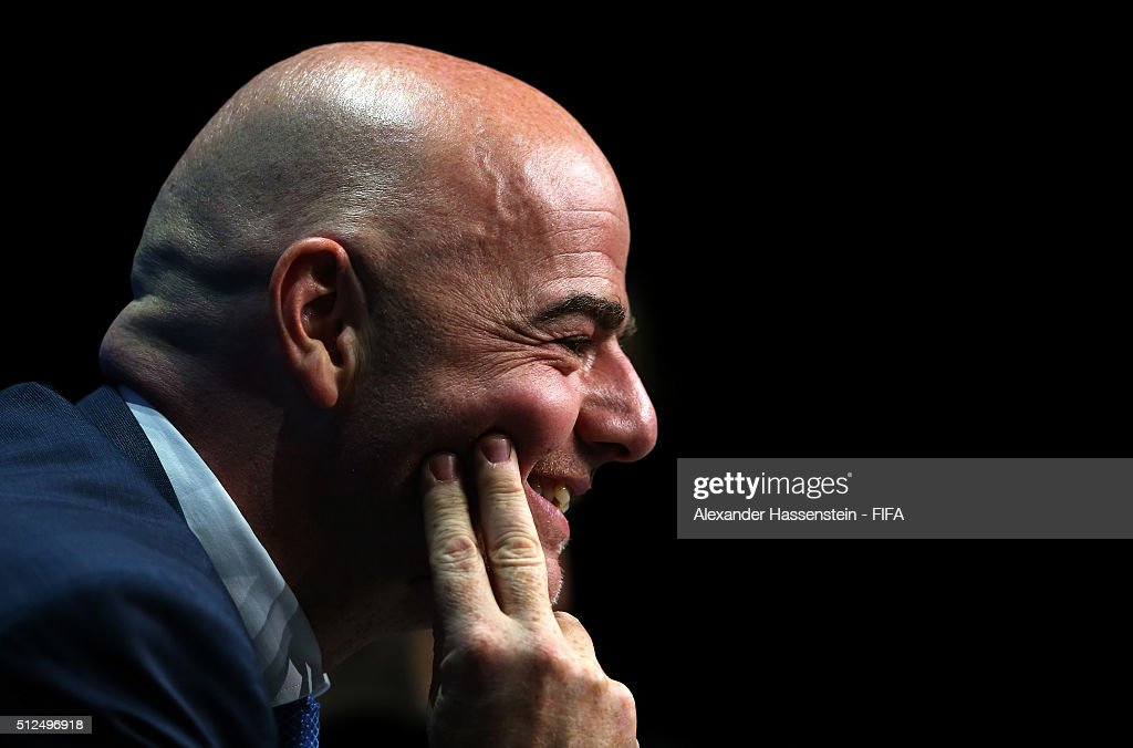 The new FIFA President Gianni Infantino smiles during a press conference after the Extraordinary FIFA Congress at Hallenstadion on February 26, 2016 in Zurich, Switzerland.