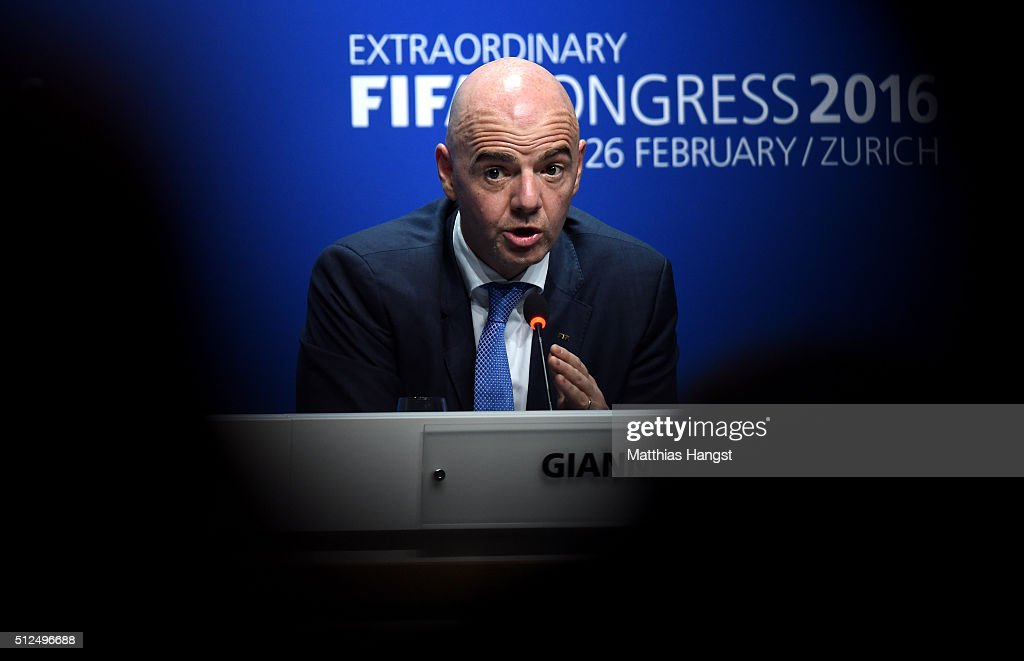 The new FIFA President Gianni Infantino talks during a press conference after the Extraordinary FIFA Congress at Hallenstadion on February 26, 2016 in Zurich, Switzerland.