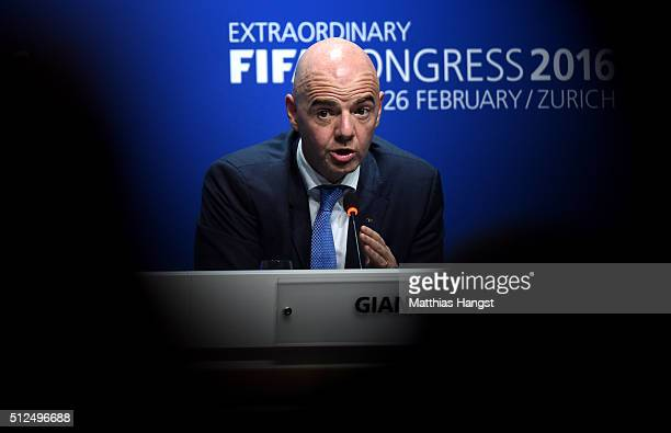 The new FIFA President Gianni Infantino talks during a press conference after the Extraordinary FIFA Congress at Hallenstadion on February 26 2016 in...