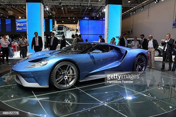 The new Ford GT stands at the Ford stand at the 2015 IAA Frankfurt Auto Show during a press day on September 16 2015 in Frankfurt Germany The IAA...