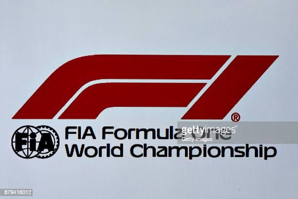 The new Formula One World Championship logo is unveiled during the Abu Dhabi Formula One Grand Prix at Yas Marina Circuit on November 26 2017 in Abu...
