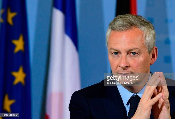 The new French Economy minister Bruno le Maire gives a joint press conference with the German Finance Minister on May 22 2017 in Berlin / AFP PHOTO /...