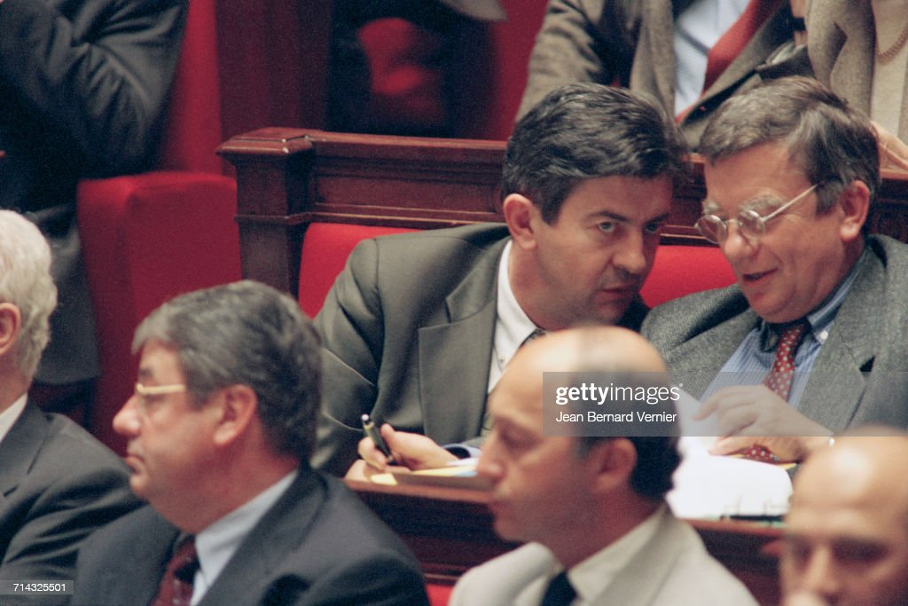The new French government at the National Assembly, Paris, 28th March 2000. Front: Daniel Vaillant (left) and Laurent Fabius. Jean-Luc Mélenchon is at back left.