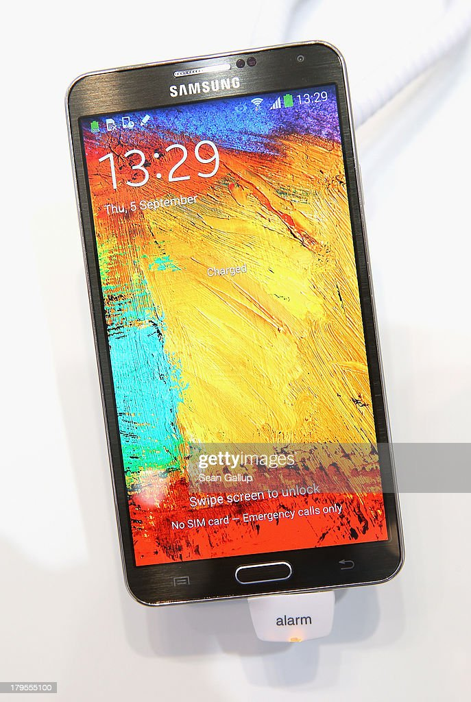 The new Galaxy Note 3 smartphone lies on display at the Samsung stand at the IFA 2013 consumer electronics trade fair on September 5, 2013 in Berlin, Germany. The 2013 IFA will be open to the public from September 6-11.
