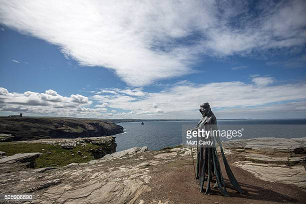 The new 'Gallos' sculpture that has been erected at Tintagel Castle is seen in Tintagel on April 28 2016 in Cornwall England The English Heritage...