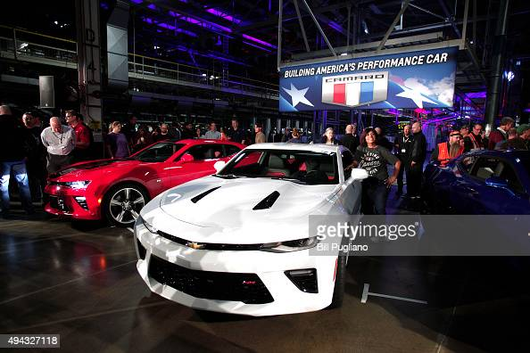 The new General Motors 2016 Chevrolet Camaro is presented after it rolled off the production line at GM's Lansing Grand River Assembly Plant October...
