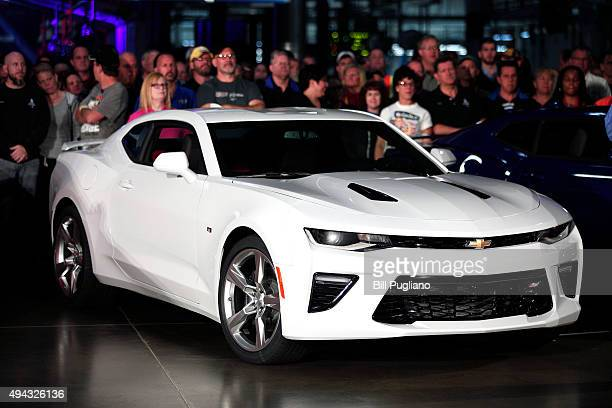 The new General Motors 2016 Chevrolet Camaro is presented as it roll off the production line at GM's Lansing Grand River Assembly Plant October 26...