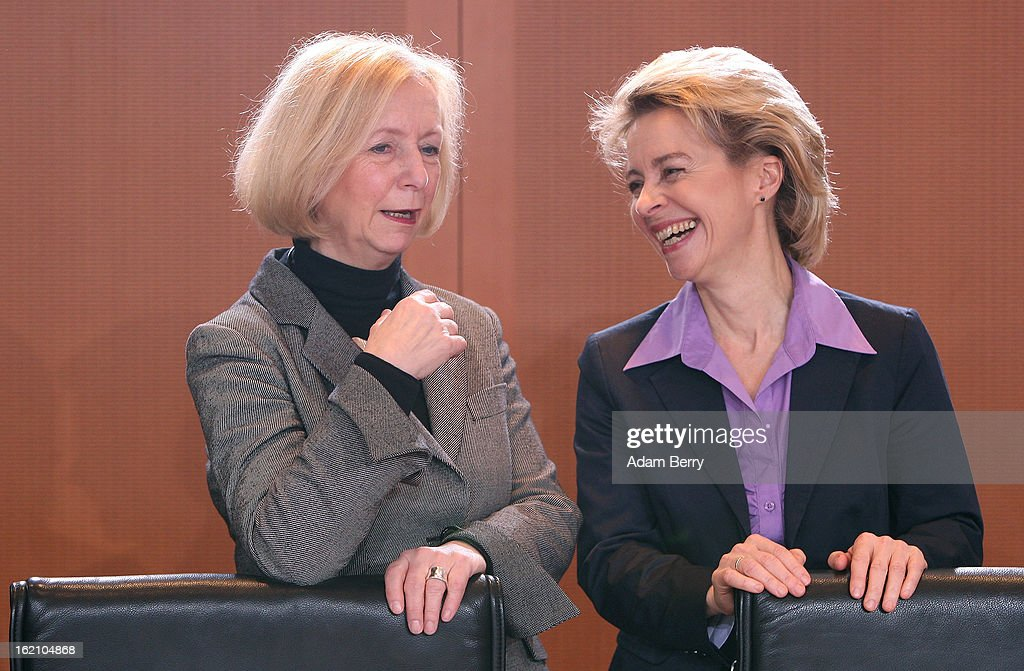 The new German Education Minister Johanna Wanka (L) and German Labor Minister <a gi-track='captionPersonalityLinkClicked' href=/galleries/search?phrase=Ursula+von+der+Leyen&family=editorial&specificpeople=4249207 ng-click='$event.stopPropagation()'>Ursula von der Leyen</a> speak to one another as they arrive for the German federal cabinet meeting on February 19, 2013 in Berlin, Germany. High on the cabinet meeting agenda will be Germany's military role in Mali, for which the country has already promised logistical support based on the situation on the ground to help an initial battle against Islamic insurgents. Germany has also pledged two C-160 transport planes as well as backing an EU plan to send 200 military advisers to the African nation.