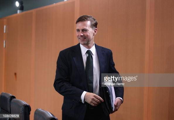 The new German government spokesman Steffen Seibert arrives for the weekly German government cabinet meeting at the Chancellery on August 18 2010 in...