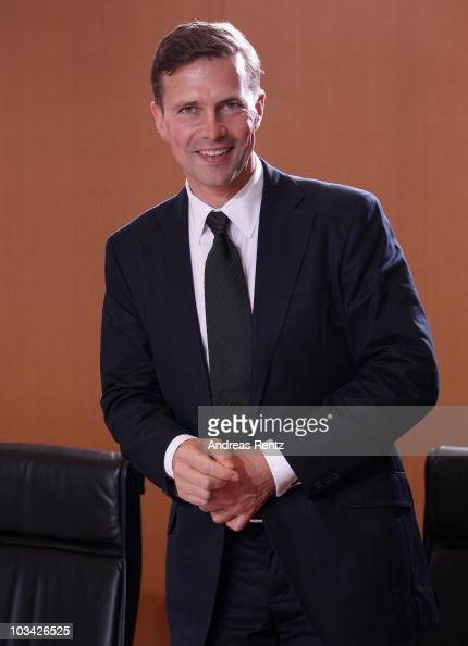 The new German government spokesman Steffen Seibert attends the weekly German government cabinet meeting at the Chancellery on August 18 2010 in...