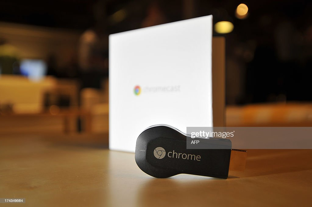 The new Google Chromecast is arranged on a table at a media event at Dogpatch Studios on July 24, 2013 in San Francisco, California. AFP Photo/JOSH