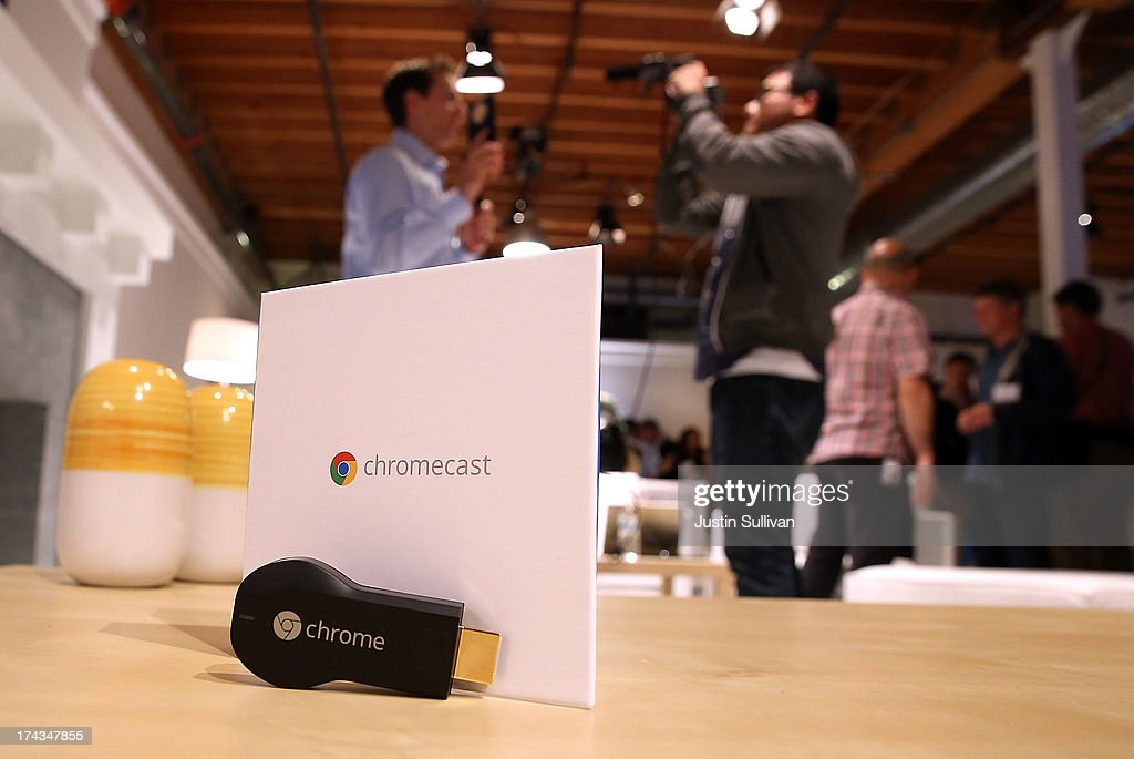 The new Google Chromecast SDK is displayed during a Google special event at Dogpatch Studios on July 24, 2013 in San Francisco, California. Google announced a new Nexus 7 tablet made by Asus and the Chromecast SDK.