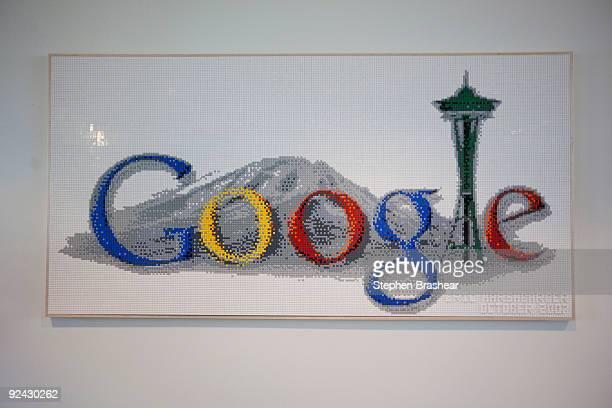 The new Google Kirkland facility features a sign made of Legos in one of its hallways October 28 2009 in Kirkland Washington More than 350 employees...