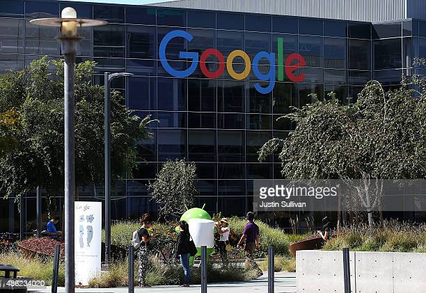 The new Google logo is displayed at the Google headquarters on September 2 2015 in Mountain View California Google has made the most dramatic change...