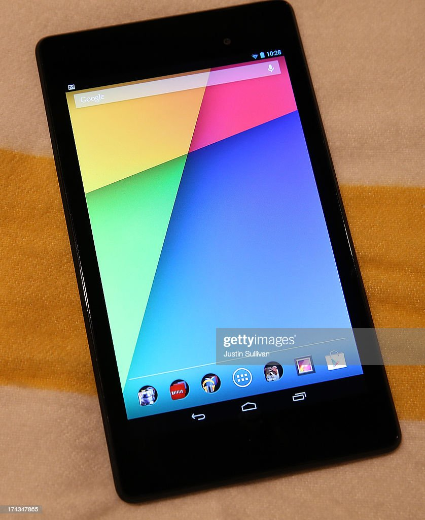 The new Google Nexus 7 tablet, made by Asus is displayed during a Google special event at Dogpatch Studios on July 24, 2013 in San Francisco, California. Google announced a new Asus Nexus 7 tablet and the Chromecast SDK.