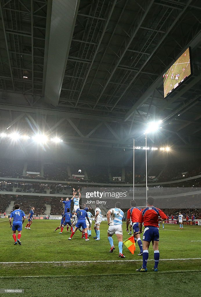 The new Grand Stade Lille Metropole stadium was covered by the roof for the rugby autumn international between France and Argentina (39-22) on November 17, 2012 in Lille, France.
